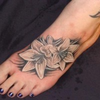 Tiger lily sexy foot tattoo idea