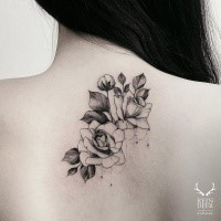 Tiny accurate painted by Zihwa nice flowers tattoo on upper back