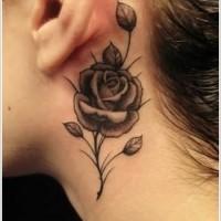 carina inchiostro nero fiore rosa tatuaggio su collo