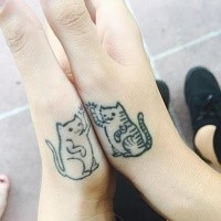 Tiny for girl like arm tattoo of funny cats