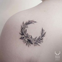Tiny linework shoulder tattoo of cute flowers by Zihwa