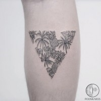 Tiny simple painted triangle shaped forearm tattoo oof pineapples and palm trees
