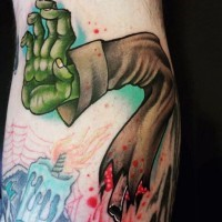 Torn zombie hand with bone and bloody drips colored tattoo with burning candle and spiderweb