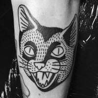 Tatuaggio nero bianco la faccia del gatto con la bocca spalancata