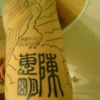 Traditional chinese tattoo on hand