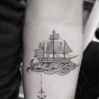 ancoraggio tradizionale con nave tatuaggio