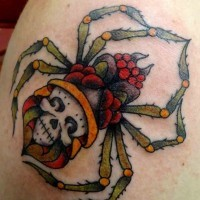 Traditional coloured spider tattoo