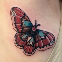 Traditional moth color ink tattoo on side rib