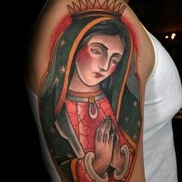 Traditional old school style praying Virgin Mary religious colored shoulder tattoo