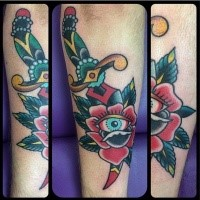 Traditional old school style sharp dagger with gems into rose flower colored tattoo with eye