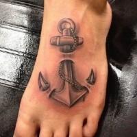 realistico ancoraggio tradizionale tatuaggio su piedi