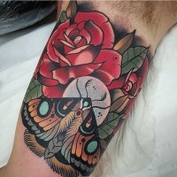 Traditional red roses and moth  colored biceps tattoo in old school style
