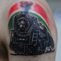 Train painted in 3D style tattoo on upper arm