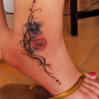 Tribal and color flowers ankle tattoo for girls