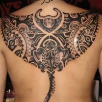 tribale arte inchiostro nero tatuaggio sopra la schiena