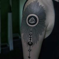 ornamento tribale inchiostro nero parata dei pianeti tatuaggio a mezza manica
