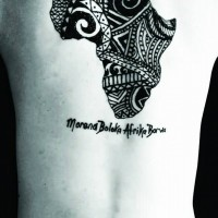 Tribal style black ink African continent map part tattoo on back with lettering