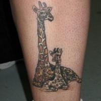 Zwei schöne bunte Giraffe Tattoo
