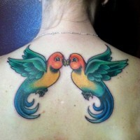 due uccelli simmetrici colorati baciando tatuaggio su schiena