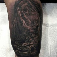 Typical 3D style arm tattoo of detailed rhino head