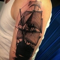 Typical colored shoulder tattoo of large and detailed sailing ship