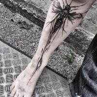 Tipico progettato da Inez Janiak tatuaggio delle gambe di grande insetto