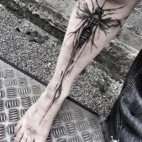 Typical designed by Inez Janiak leg tattoo of big bug