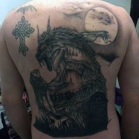 Typical engraving style back tattoo of werewolf stylized with moon and castle