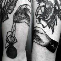 Typical engraving style black ink hand with web and spider tattoo on arm