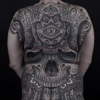 Typical large whole back tattoo of ancient human skull stylized with various ornaments and eye