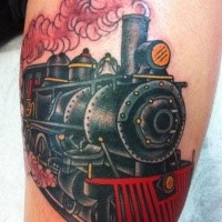 Typical old school style colored steam train tattoo