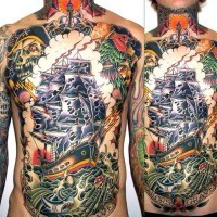 Unbelievable multicolored old pirate themed massive tattoo on chest and belly