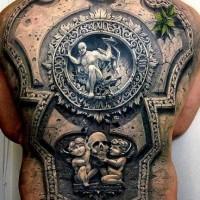 incredibile dipinto molto realistico 3D tribale statue tatuaggio pieno di schiena