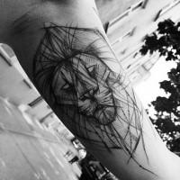 Unfinished black ink sketch tattoo of lion head by Inez Janiak