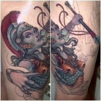 Unfinished colored thigh tattoo of ancient woman warrior