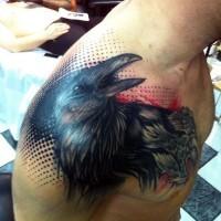 unico 3d stile colorato corvo tatuaggio su spalla
