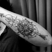 Unique designed black and white steering wheel with arrow tattoo on arm