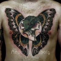 Unique designed colorful chest tattoo of woman and man faces stylized with butterfly wings