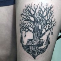 Unique designed little black ink anchor shaped tree with lettering tattoo on arm