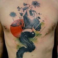 Unique painted and colored black ink hand with sun and flowers tattoo on chest