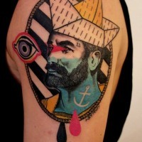 Unique style combined mystic colored nautical portrait tattoo on upper arm