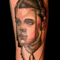 Unknown style vintage colored faceless portrait with 2d graphics tattoo on arm