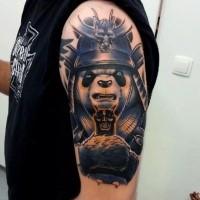 Illustrative style colored shoulder tattoo of panda samurai