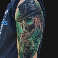 New school style colored shoulder tattoo of plague doctor with needle