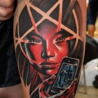 New school style colored shoulder tattoo of demonic woman with star and phone