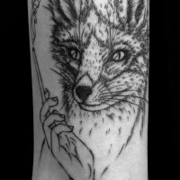 Illustrative style colored arm tattoo of funny looking smoking fox