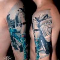 Illustrative style colored shoulder tattoo of sexy woman with big car