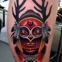New school style colored leg tattoo of Indian mask with horns