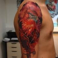 Illustrative style colored shoulder tattoo of large beautiful bird