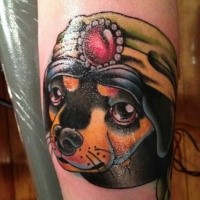 New school style colored arm tattoo of funny dog with hat